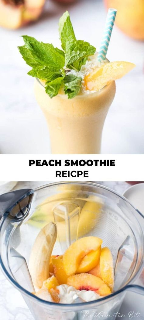This easy Peach Smoothie recipe combines yogurt, almond milk, banana, and peaches to create a creamy and refreshing breakfast. Almond Milk Smoothie Recipes, Yogurt Smoothies, Easy Smoothies, Peach Banana Smoothie, Healthy Peach Smoothie, Weight Watcher Smoothies, Photo Food, Healthy Snacks For Kids, Kids Meals