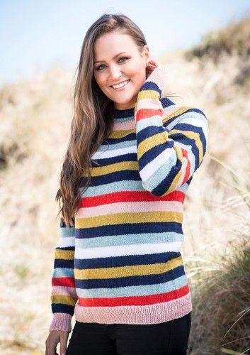 431c9e14 Opskrift 1652: Over-Size sweater med striber. Smart og elegant design  strikket i