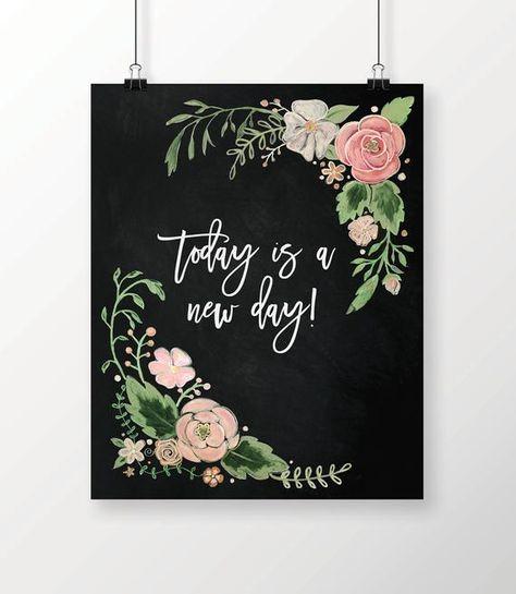 Dessiné à la main imprimé Floral Art Print Chalk Art | Etsy