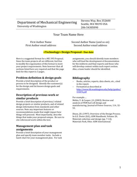 Design Report Template University Of Washington Within Project
