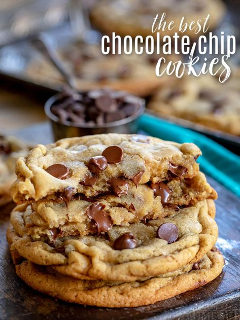 The BEST Chocolate Chip Cookies of your life! Soft and chewy and bursting with chocolate goodness, this easy chocolate chip cookie recipe is life changing. Made in one bowl without a mixer, this recipe delivers soft, thick, chewy cookies every single time! Truly the ultimate chewy chocolate chip cookie with unmatched flavor and texture! // Mom On Timeout #chocolatechipcookies #chocolatechipcookierecipe #cookies #dessert #baking #chocolatechip #chocolatechipcookie