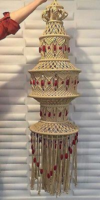 Vintage HUGE! Mid Century Hippie Macrame hanging Piece/ Light Chandelier #macramehangingplants