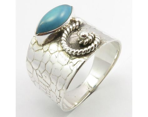 Fashion Authentic TURQUOISE Antique Look Ring Sz 8 New Women's Jewelry 925 Solid Sterling Silver Brand New Jewellery From SilverStarJewel