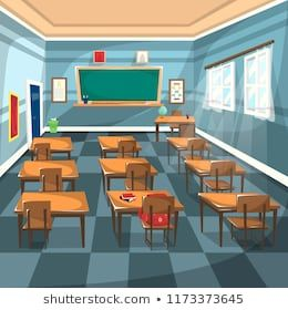 Clean High School Classroom With Chalk Green Board Brown Study Table Chair Globe And Large Windows For Cartoon Vector Illustration I Kartun Ilustrasi Gedung