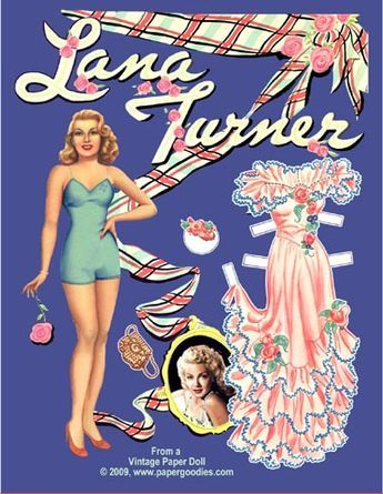 VINTAGE UNCUT 1945 LANA TURNER PAPER DOLLS~#1 REPRODUCTION MADE FROM ORIG BOOK!