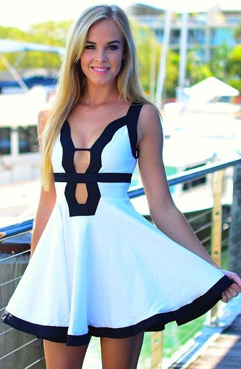 Adorable Black Border White Mini Dress Fashion  by Fun & Fashion Hub