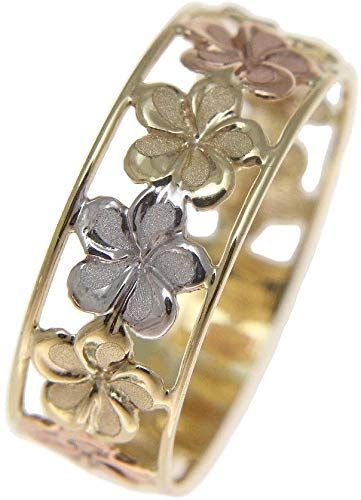 14k Yellow Gold Solid Hawaiian Plumeria Flower Ring Available in Sizes 6 to 9