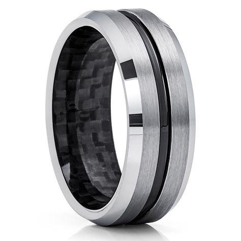 Gray Tungsten Wedding Band Black Tungsten Carbon Fiber Ring