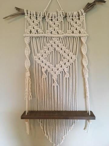 Macrame Reclaimed Wood Shelf // Modern Macrame // Boho Decor **Each one is made custom to order and may vary slightly from picture depending on the driftwood used.** This wonderful macrame shelf uses 100% cotton rope. It hangs on a hand picked piece of driftwood found in the North