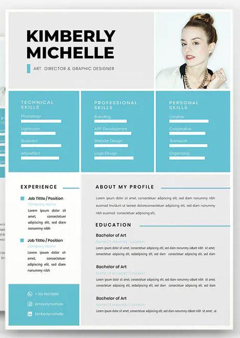 Blue Creative Cv Resume By Vunira On Envato Elements In 2020 Creative Cv Cv Resume Template Resume Template