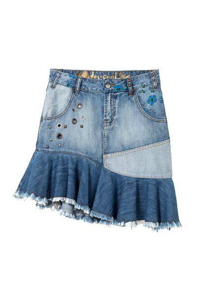 Desigual Denim Miniskirt Roses Falda para Mujer