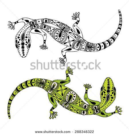 Two Hand Drawn Vector Gecko Lizards For Logo And Tattoo Lizard Gecko Wall Art Gecko