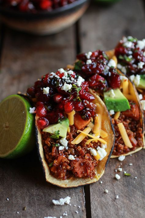 Chipotle Quinoa Sweet Potato Tacos with Roasted Cranberry Pomegranate Salsa by halfbakedharvest