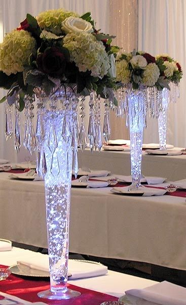 24 Clear Tall Glass Pilsner Vase Is A Great Base For Creating Beautiful Tall Centerpi Wedding Floral Centerpieces Unique Wedding Flowers Flower Centerpieces