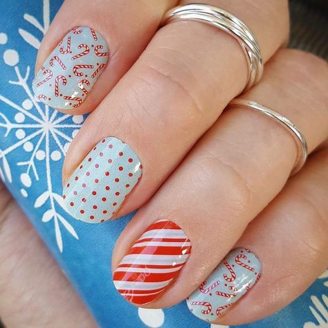 christmasnails Candy Cane Printed Christmas...