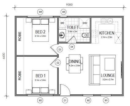Image Result For 60m2 Floor Plans Apartment Floor Plans 2 Bedroom Apartment Floor Plan House Floor Plans