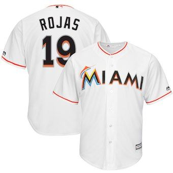 competitive price dae10 e3a5b Miguel Rojas Miami Marlins Majestic Home Cool Base Player ...