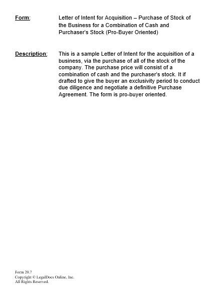 Letter Of Intent To Purchase Business And What To Write Inside It
