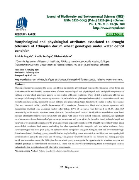 Morphological And Physiological Attributes Associated To Drought