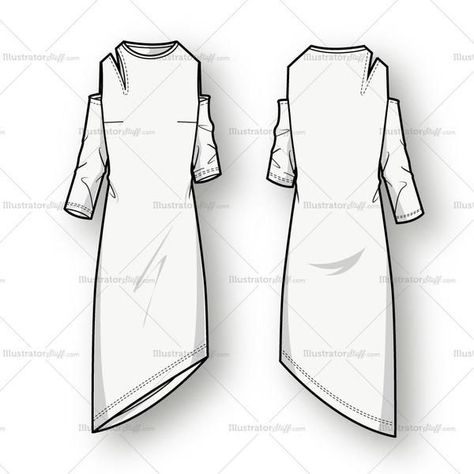 Women's vector fashion sketch of dress with shoulder cutouts, asymmetrical angled hemline, three quarter length sleeves and crew neck.