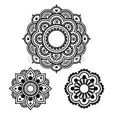 Stock Illustrations HandDrawn Henna Mehndi Tattoo Mandala Flower