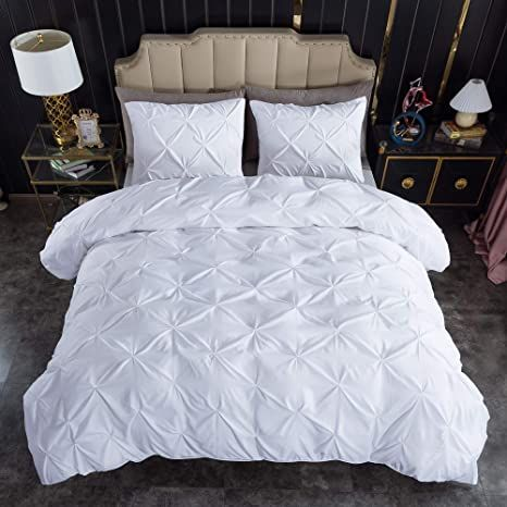 Litanika White Pinch Pleat Duvet Cover King 104x90 Inches 3 Pieces 1 Duvet Cover 2 Pillow Cases Beddin In 2021 Pintuck Duvet Cover Pintuck Duvet King Duvet Cover