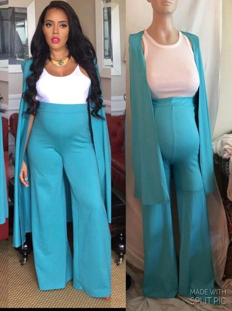 🎀I love celebritys fashion and style! 🎀 You are looking at a beautiful fashionable maternity pants suit set. Wide leg maternity pants with cape/blazer top more like a shaw... (You would need to pin the shoulders to keep cape/shaw on) Perfect for that special baby shower, maternity photoshoot or