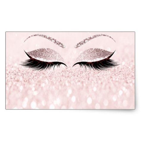 Eyelash Extension Makeup Beauty Salon Pink Glitter Rectangular Sticker