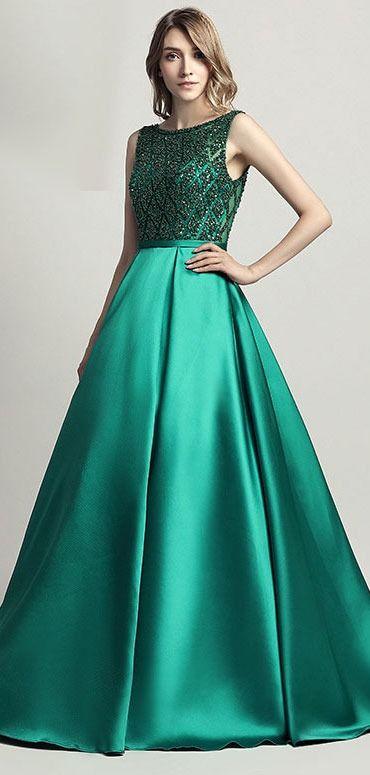 0042b824a157e4 Robe longue de soirée verte haut embelli de strass scintillant en ...