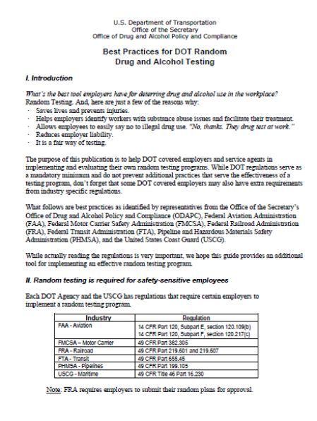 Drug and Alcohol Policy Template: Overview on Drug and