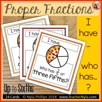 Proper Fractions I Have Who Has Pizza Version Proper Fractions Fractions Fraction Games