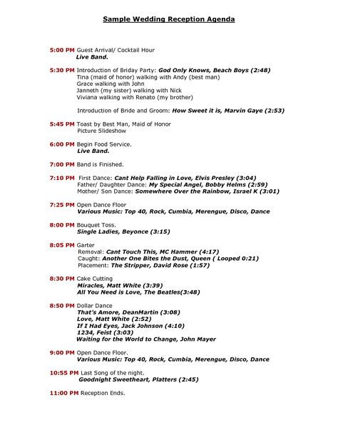 Wedding Reception Program Sample Templates   Sample Wedding Reception Agenda - PDF