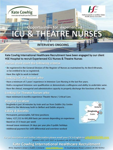 Nursing Jobs for ICU and Theatre Nurses - Ireland HSE Hospital - hse advisor sample resume