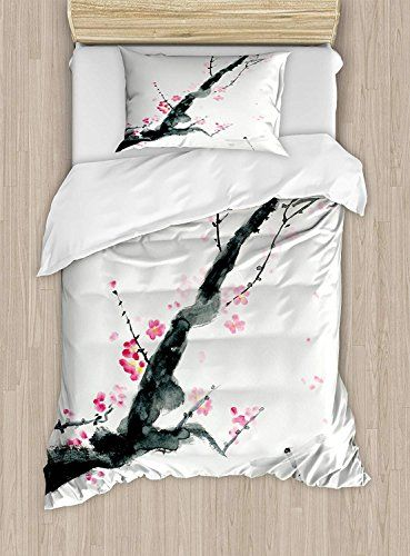 Dragonfly Luxury 4 Piece Bedding Set Branch Of A Pink Cherry Blossom Sakura Tree Bud And A Dragonfly Dramatic Artisa Duvet Cover Sets Coverlet Set Duvet Covers
