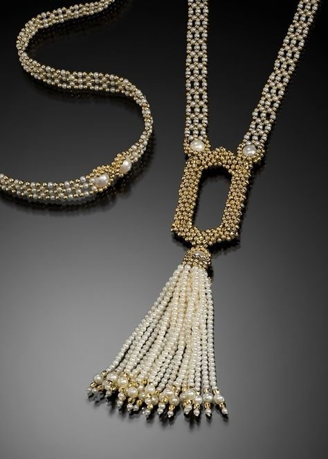 Long decorative pearl tassel Source by