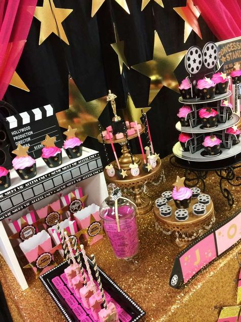 Amazing desserts at a Hollywood birthday party! See more party planning ideas at CatchMyParty.com!