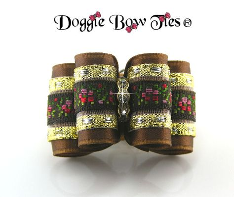 Shih Tzu bow dog hair bow Biewer bow Yorkie bow Dog Bows and More Garden Rose topknot dog show bow Fancy show bow elegant bow.