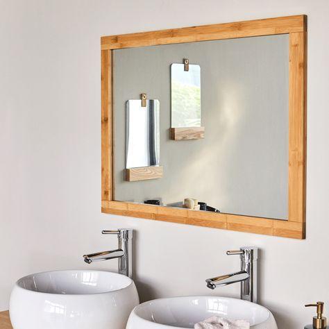 Danong Miroir Rectangulaire De Salle De Bains Cadre En Bambou
