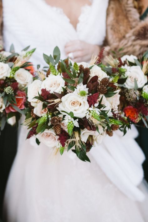 Bridal bouquet with whites, greeneries, and burgundies for a fall wedding in NJ | Photo: Sanford Creative