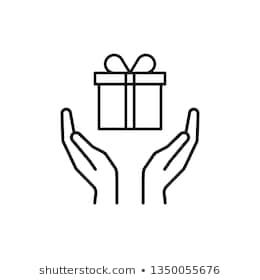 Black Isolated Outline Icon Of Gift Box In Open Hands On White Background Line Icon Of Gift Box And Two Hands Give Make A Presen Box Icon Malevich Line Icon