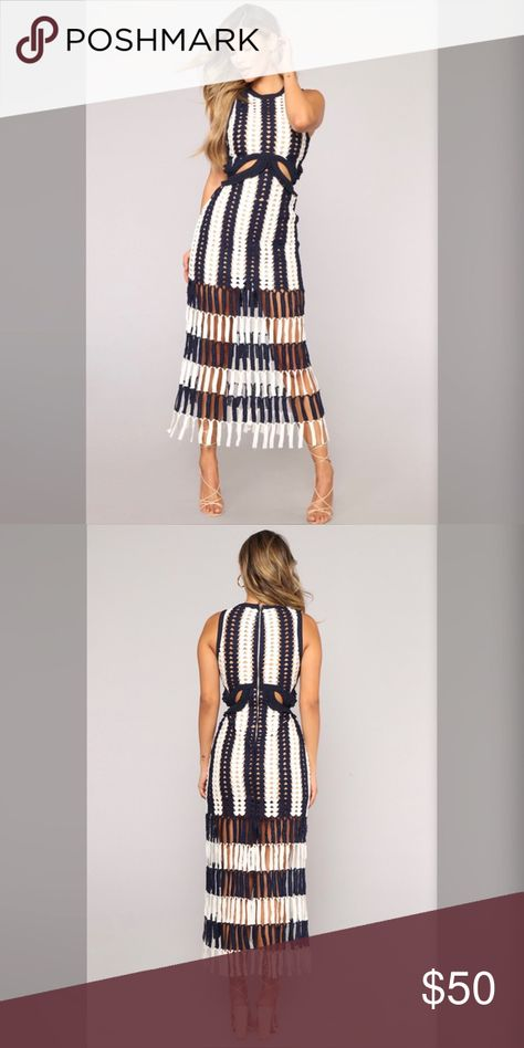 8e07d86a3737 Fashion Nova Medellin Crochet Dress - Navy/White The Crochet Cutout Midi  Dress is cut from specifically engineered navy and white striped crochet.