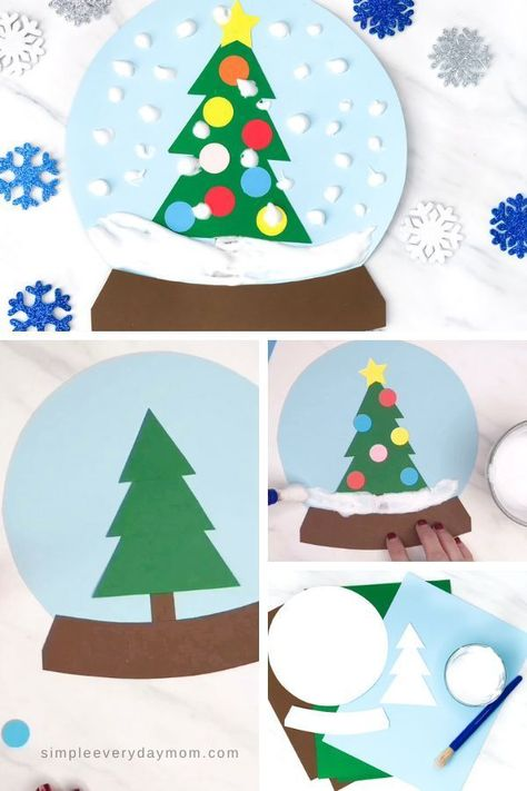 christmas crafts #christmascookies #christmas #cookies This puffy paint snow globe craft for kids is a fun and simple activity for kids to do this winter. Perfect for doing at home or at school. #simpleeverydaymom #wintercrafts #kidscrafts #kidsandparenting #toddlers #preschoolers #kindergarten #elementary