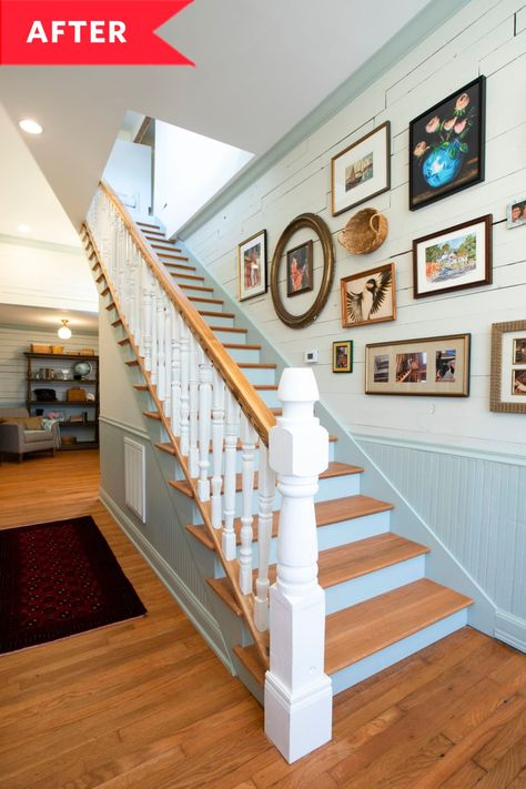 Ben wanted to create a meaningful handrail and hand-carved spindles that spoke to the home's history and town at large. To do this, he gathered mismatched spindles from different places across Wetumpka that created an eclectic look for the staircase.