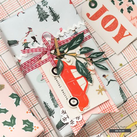 Hello everyone! Its Bea here today, and I'm sharing some fun gift wrapping ideas using the beautiful Merry Days collection. Creating pretty packaging has always been a favorite craft time for me in December! Wrapping Ideas, Creative Gift Wrapping, Wrapping Gifts, Christmas Mood, Merry Little Christmas, Retro Christmas, Christmas Christmas, Beav, Crate Paper