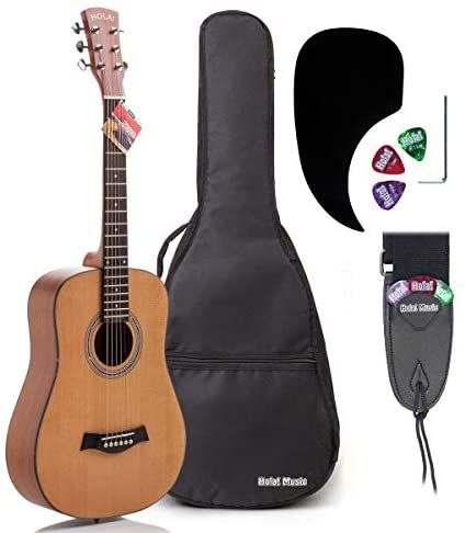 3 4 Size 36 Inch Acoustic Guitar Bundle Junior Travel Series By Hola Music With D Addario Exp16 Steel Strings Padded Gig Bag Guitar Strap And Picks Model Guitar Guitar For Beginners Guitar Strap