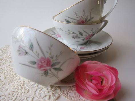 Vintage Golden Rose Fine China Pink Aqua Teacup & by thechinagirl
