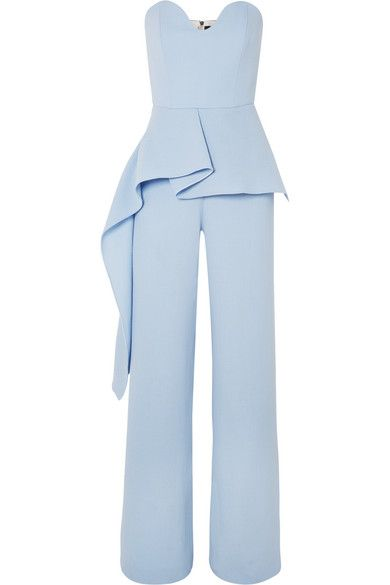 Roland Mouret - Strapless Draped Wool-crepe Jumpsuit - Sky blue Blue Jumpsuits, Looks Chic, Roland Mouret, Wide Leg Pants, Peplum Dress, What To Wear, Fashion Dresses, Cute Outfits, Womens Fashion