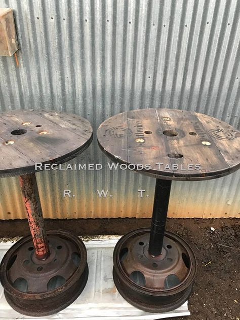 Rent For Chairs And Tables Parties Wooden Spool Projects, Wooden Spool Tables, Cable Spool Tables, Wood Spool, Cable Spools, Car Part Furniture, Barrel Furniture, Automotive Furniture, Automotive Decor
