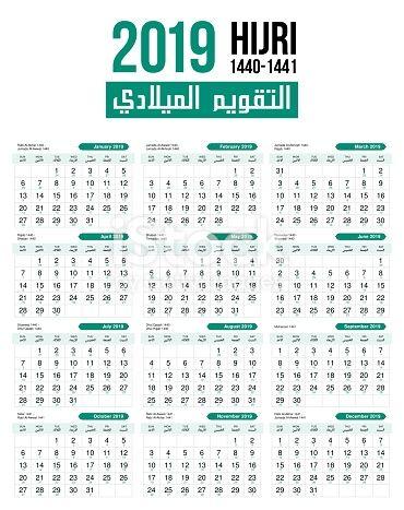 Islamic Hijri Moon Calendar Vector Template Design Calendar Vector Moon Calendar Template Design