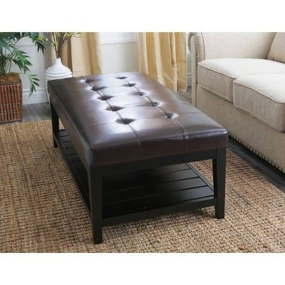 Excellent Manchester Bonded Leather Coffee Table Ottoman Dark Brown Bralicious Painted Fabric Chair Ideas Braliciousco